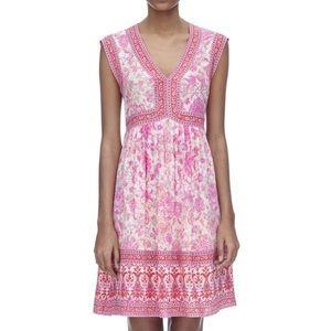 Rebecca Taylor Pink Dreamweaver V-Neck Silk Dress